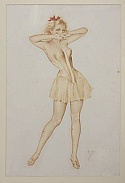 Alberto Vargas Original Girl with Red Ribbon Extremely Rare Find