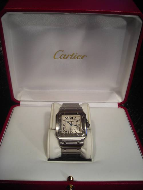 Omega Authorized Dealer >> Santos de Cartier galbee Mens Date Watch SS Model 2319 ...