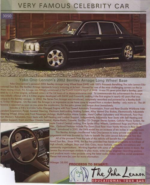 2002 Bentley Arnage LWB Long Wheel Base Limo Formerly Yoko