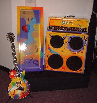 gibson les paul guitar with matching case and amp painted by rick garcia. Black Bedroom Furniture Sets. Home Design Ideas