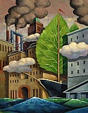 Murray Kimber Original Oil Painting ' Launching a Green Revolution '