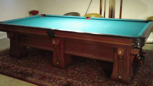 I Am Pleased To Offer This One Owner Brunswick Arcade Vintage Pool Table  This Table Is A 10 Ft Model With 6 Legs Circa 1930u0027s And It Features Very  Ornate ...