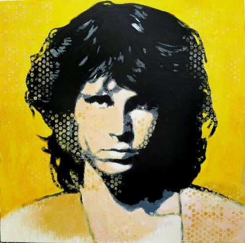 Original Framed Artwork Jim Morrison By Bill Furlong Mixed Media Pop