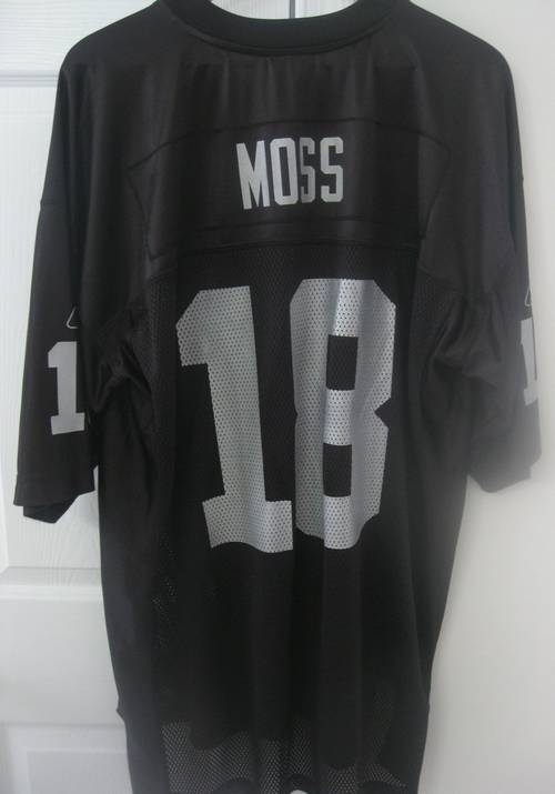 designer fashion 6a933 05fb0 Oakland Raiders NFL Reebok #18 Randy Moss Black Replica ...