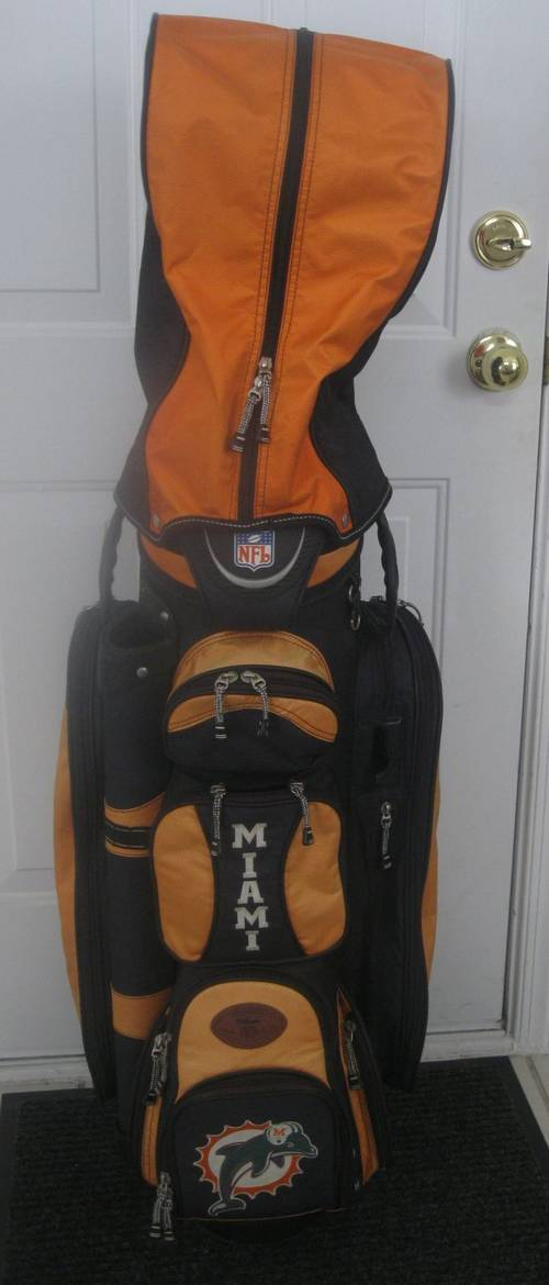 I Am Pleased To Offer This Very Cool Nfl Licensed Wilson Miami Dolphins Golf Bag Is Pre Owned And Shows Some Wear Of The Orange Panels Have Faded