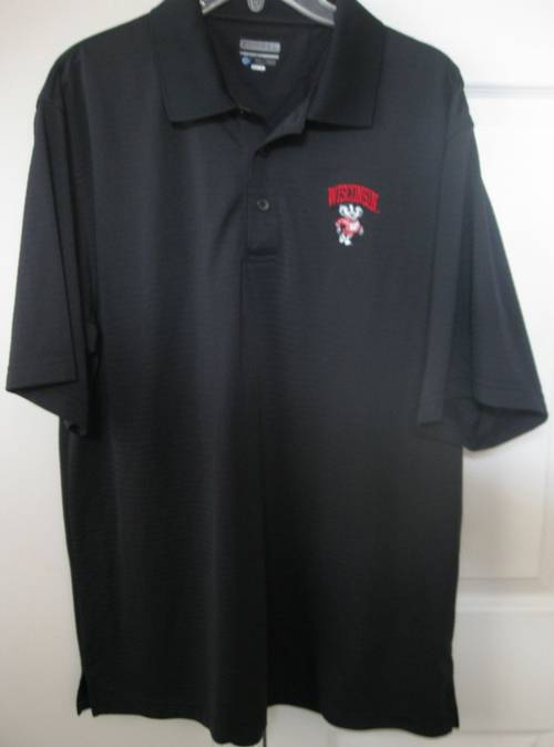 University of wisconsin badgers black mens polo shirt xl for Mens wisconsin badger shirts