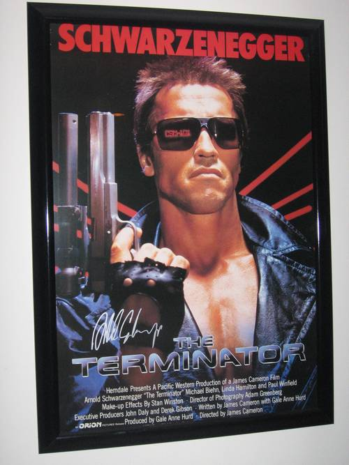 The Terminator Framed Movie Poster Signed by Arnold Schwarzenegger ...