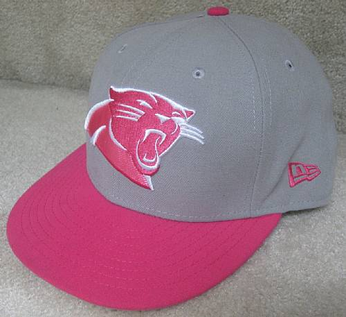 6fccf505513 ... NFL Carolina Panthers ladies baseball cap. Hat is made by New Era  (59Fifty) and is size 7 3 8. Hat was produced to show awareness for breast  cancer ...
