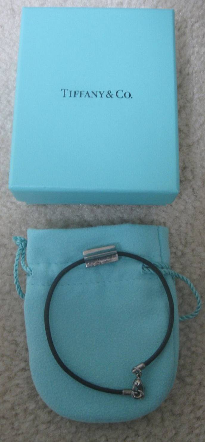 I Am Pleased To Offer This Brand New Tiffany And Co Mens Leather Bracelet With Sterling Silver Bead Outer Box Inner Pouch