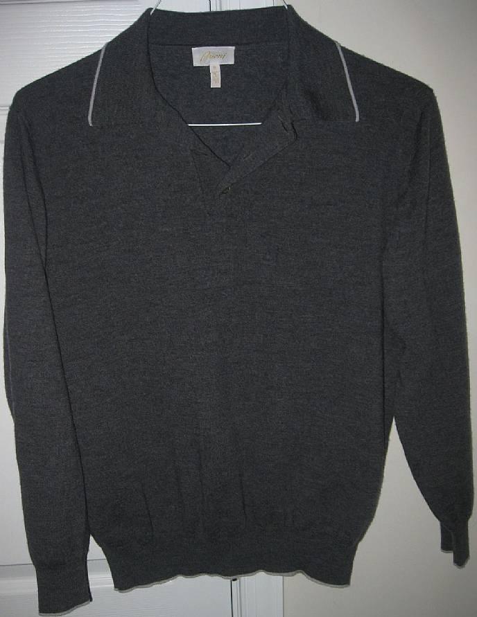 Brioni mens 100 wool long sleeve polo shirt medium made for Long sleeve wool polo shirts
