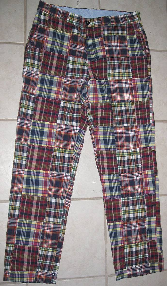 Brooks Brothers 346 Mens Plaid 34 X 32 Red Blue Multi Patchwork ...