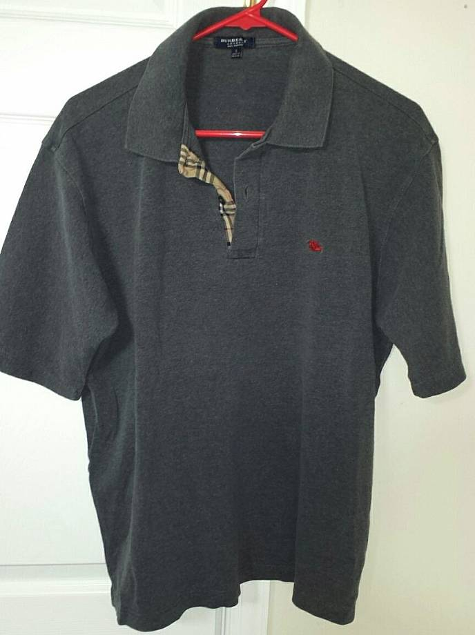 burberry authentic london mens gray golf polo shirt large