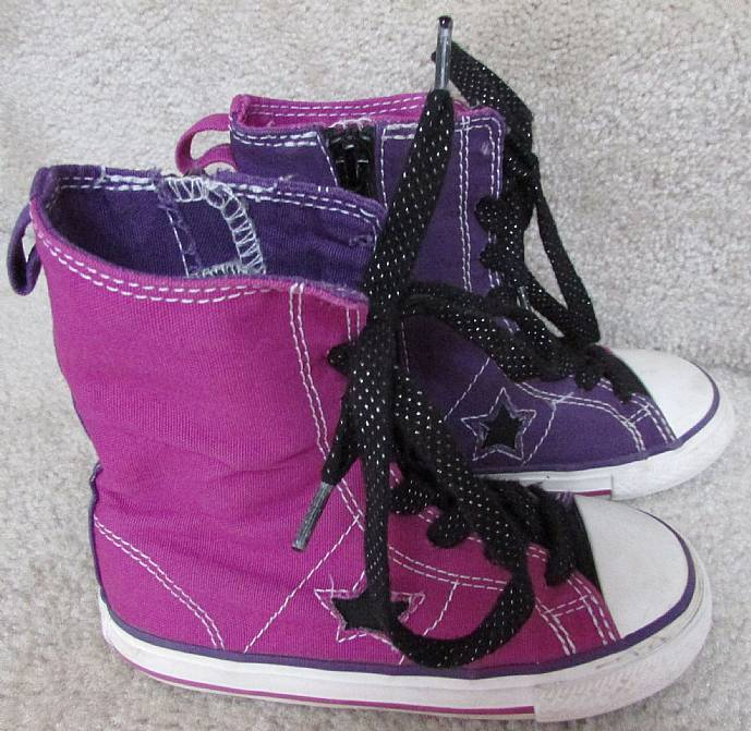 a4c04134e42 Converse Infants Tall High Tops Sneakers Size 9 Purple 741212FT ...