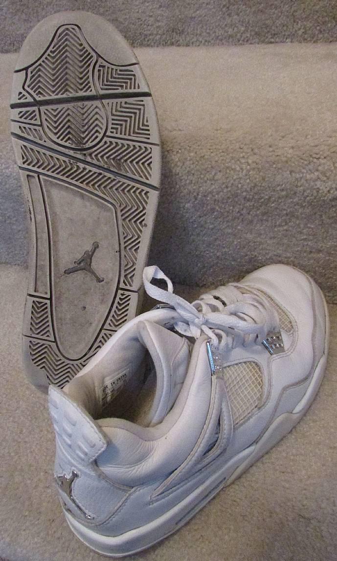 4b45bfb9e85d07 Mens Nike Air Jordan Retro 4 Pure Money White Metallic Silver 308497 ...