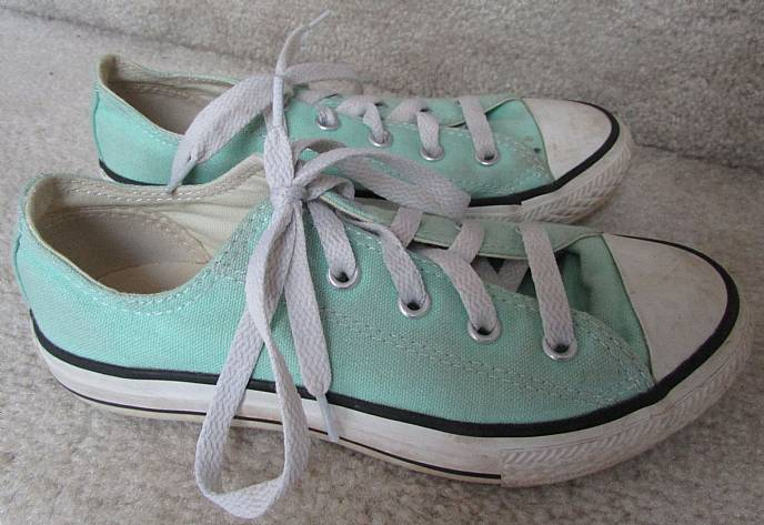 9b162764cfb2 Available today is a great pair of Converse Chuck Taylor All Star Lo Top  youth sneakers. Color is known as beach glass (pale mint green). Beautiful  color.