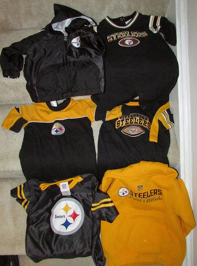 Lot of 6 NFL Pittsburgh Steelers Apparel Items for the Young Steelers Fan  EUC 76517bdc3