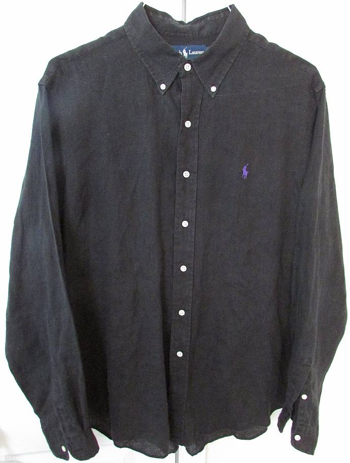 Lauren Polo Mens Shirt Ralph Black Classic Sleeve Fit Long Linen Xl 5AL4Rj