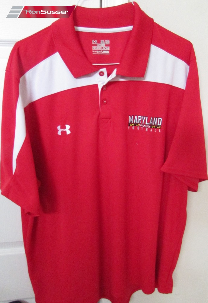 Maryland terps terrapins football red golf shirt 3xl under for Under armour 3xl polo shirts