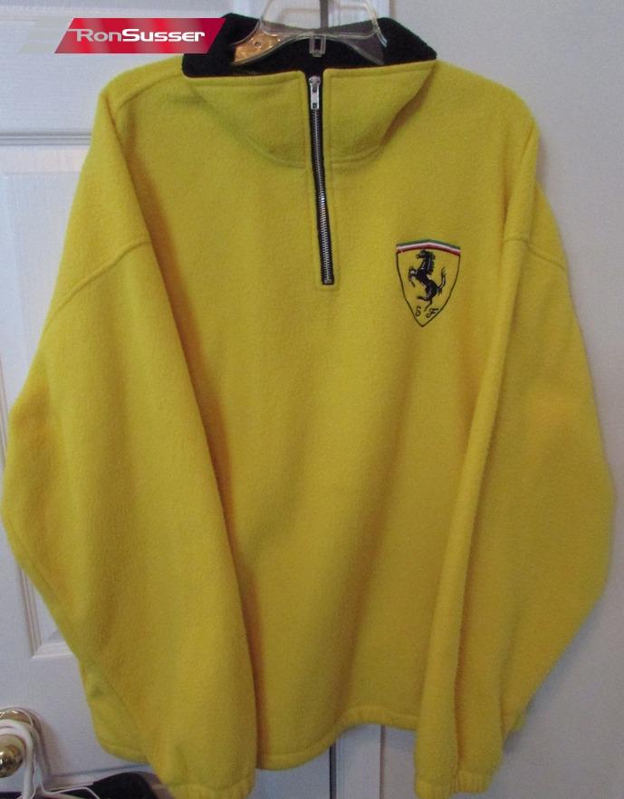 Ferrari Yellow Mens Half Zip Fleece Pullover Sweater EUC ...