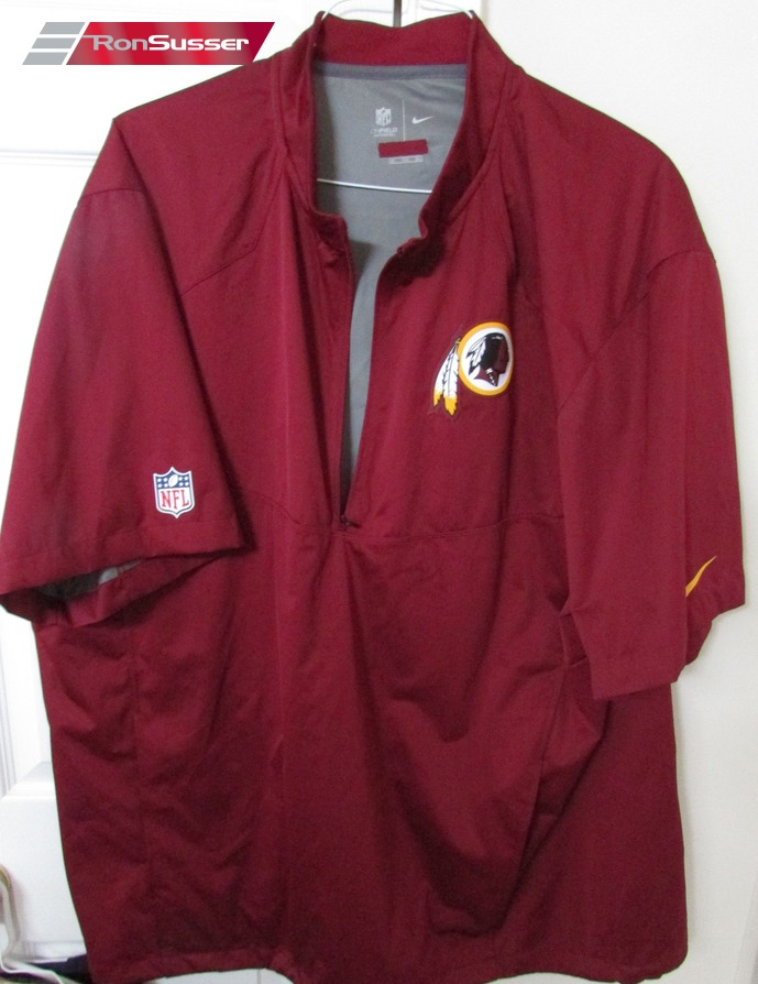 I am pleased to offer this Nike NFL Washington Redskins half zip  lightweight short sleeve windbreaker jacket. Size is 2XL and jacket is made  from 100% ... cb6b1b5fd