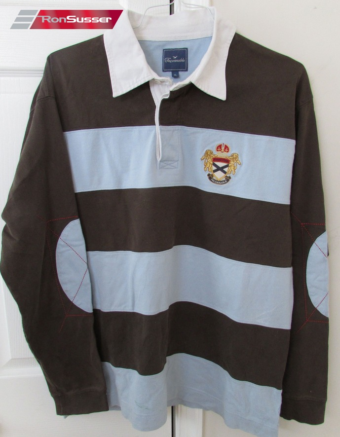 Gorgeous Mens Faconnable Royal Club Long Sleeve Rugby Shirt Is Size Xl And In Excellent Pre Owned Condition Great Dark Brown Light Blue