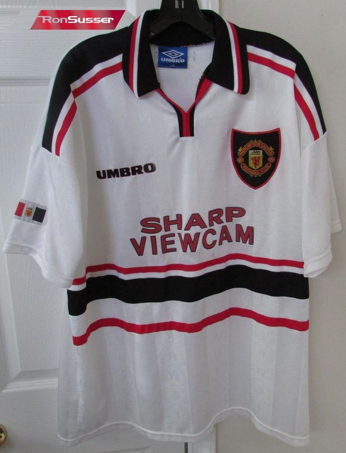 online retailer 3b099 7b0e4 Details about Manchester United Sharp Viewcam Football Soccer Shirt XXL EUC