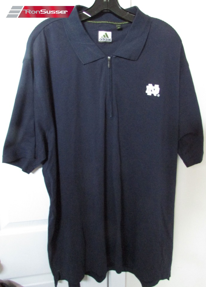Ncaa notre dame golf polo shirt by adidas equipment navy for Notre dame golf shirts