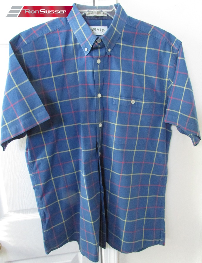 Orvis button front short sleeve shirt button down collar l for Custom pattern button down shirts
