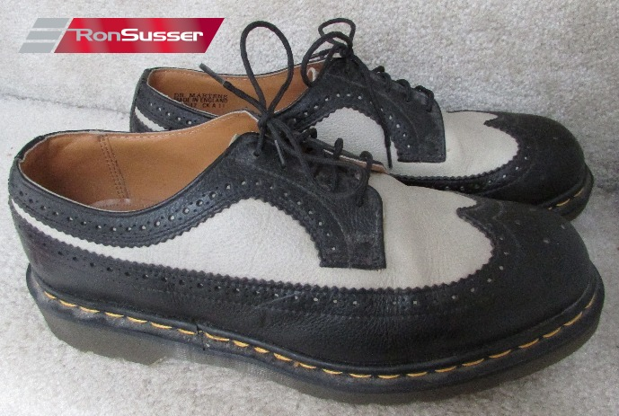 Dr. Martens Mens Black and White Wingtip Brogue Leather