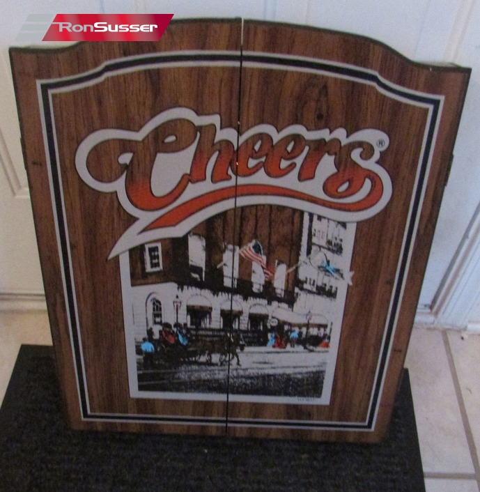 Vintage 1989 Cheers Dart Board Cabinet With 6 Darts Brand