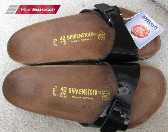 fa293e0a1d8c Birkenstock Madrid Black Patent Birko-Flor Sandals New NWT Size 42 ...