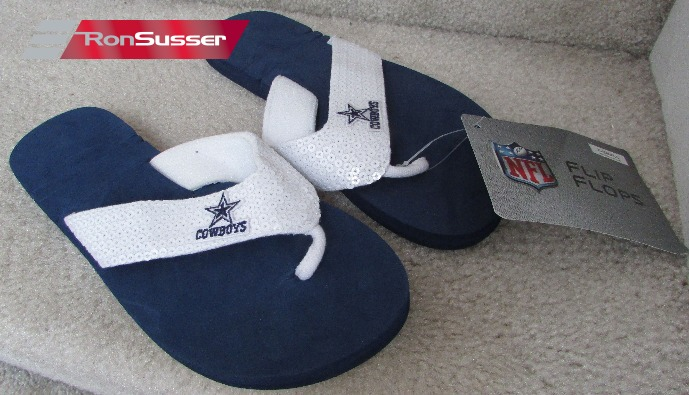 buy online 430f9 8ef9a NFL Dallas Cowboys Womens Size Extra Small 5 6 Blue Flip Flops Sandals with  Sequins NWT