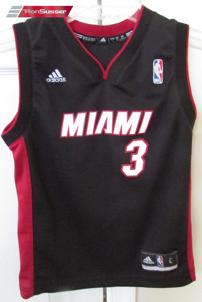 promo code 19051 6ba4b Details about NBA Miami Heat Dwayne Wade #3 Kids Replica Jersey Large by  Adidas EUC