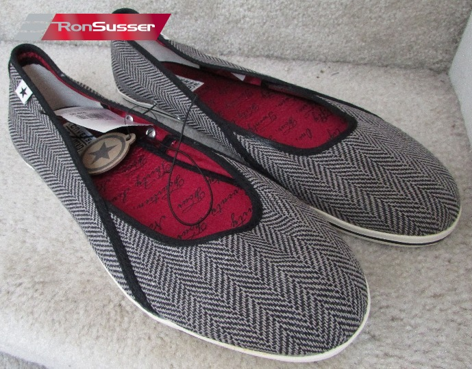 1b0ac5c8b826e7 Available today is a brand new with tags pair of ladies Converse One Star  dance slip ons ballet flats. Color is black (with gray herringbone pattern)  and ...