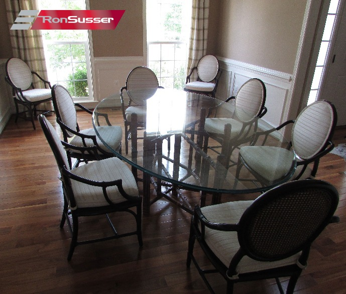 Vintage McGuire Bamboo And Rattan Dining Room Set 8 Chairs