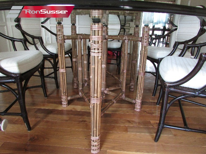 vintage mcguire bamboo amp rattan dining room set 8 chairs indonesia bamboo dining room furniture