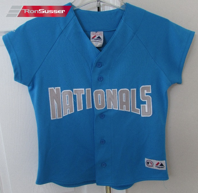 premium selection 5a25a 70909 MLB Washington Nationals Youth Medium Teal Blue Jersey by ...