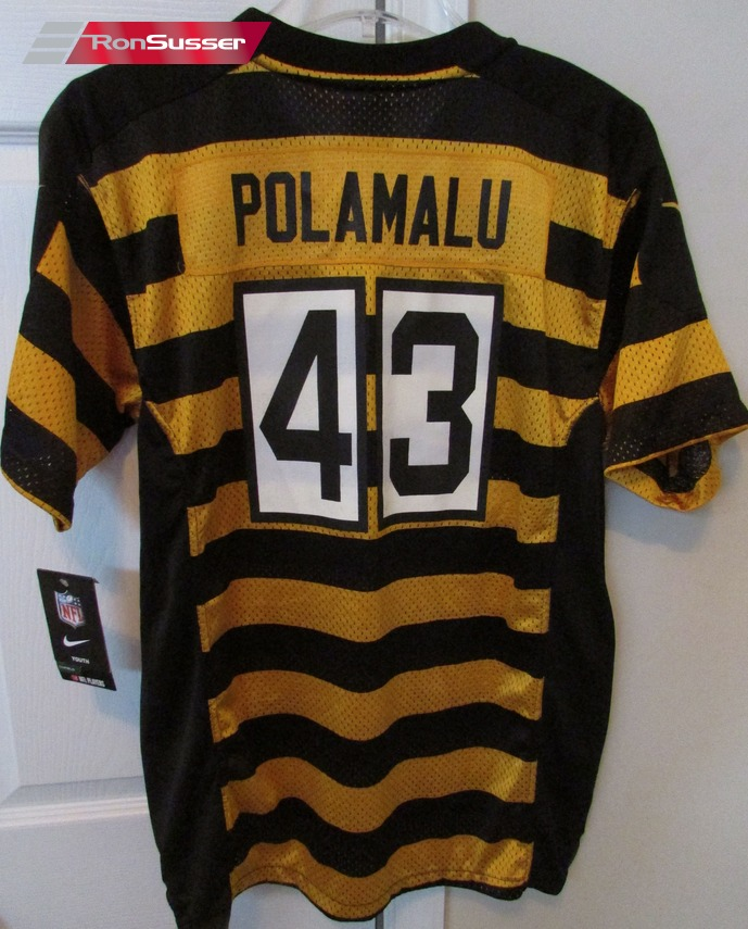 new style 31c0a 175ec NFL Pittsburgh Steeler Troy Polamalu Striped Jersey Youth XL ...