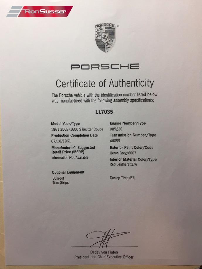 porsche authenticity certificate ronsusser kardex
