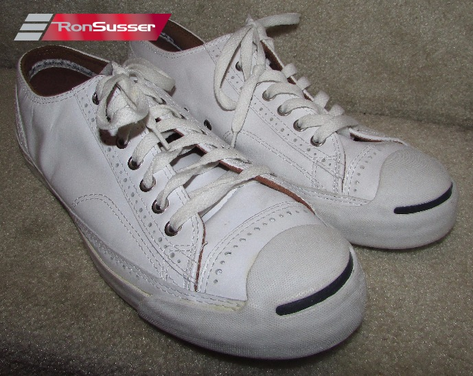 2c5d4413ec88 Rare Converse Jack Purcell White Perf Brogue Leather Sneakers Sz 11.5   117030