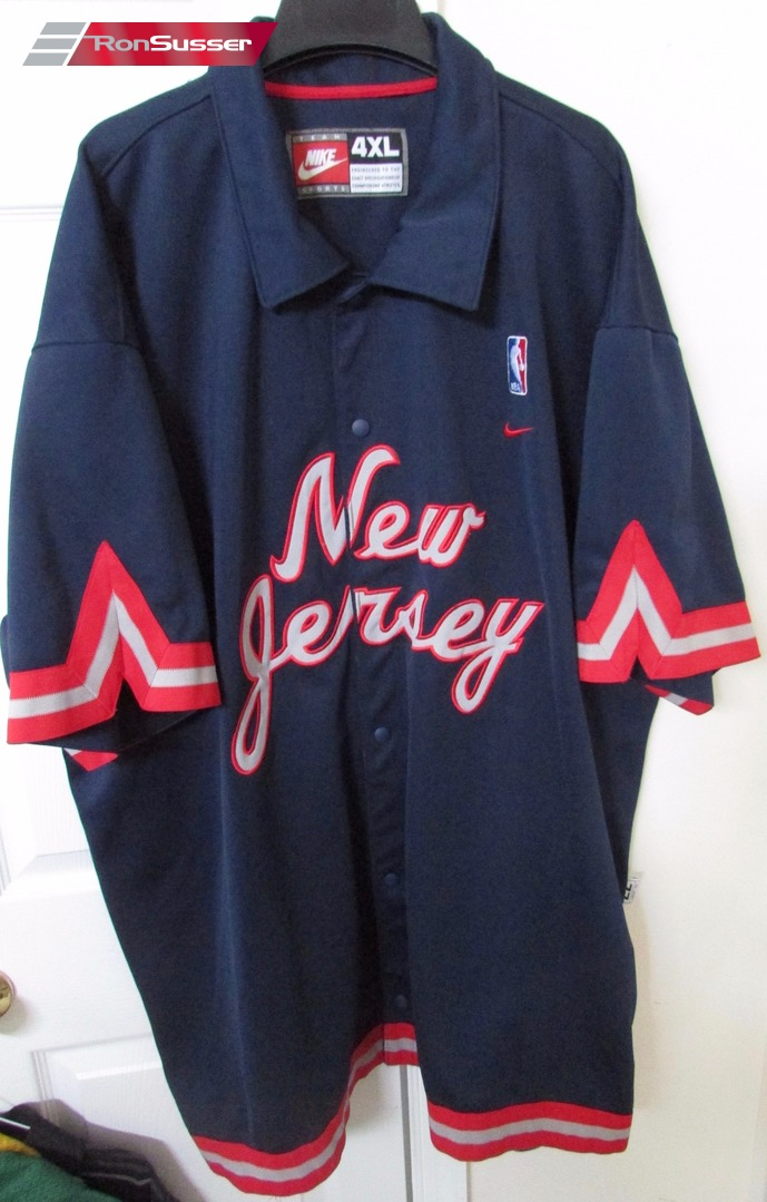 timeless design 82db0 88059 Nike NBA New Jersey Nets Blue Warm-Up Jacket Shooting Shirt ...