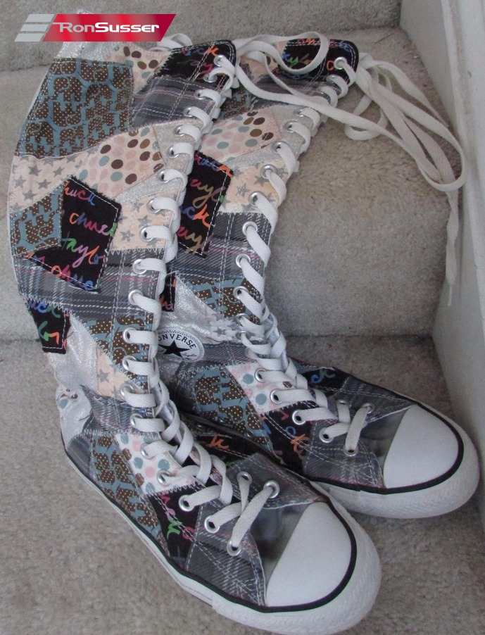 a7b14fc9f14 Converse All Star Chuck Taylor Knee High Patchwork Sneakers Boys 6 Women 8