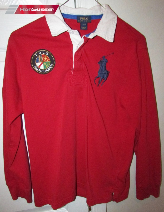Polo Ralph Lauren  3 Big Horse Logo Long Sleeve Red Rugby Shirt Youth L  (14-16) e222106280a7