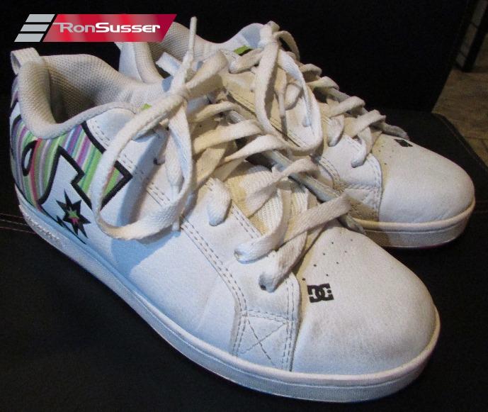 a4a4ac74a8 DC Shoe Womens Court Graffik SE Skate Shoes Sneakers White Rainbow 7M US  301043