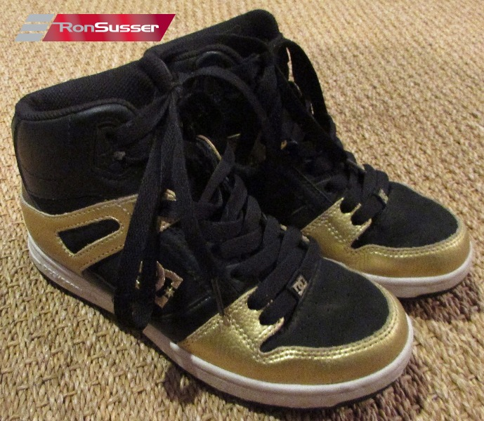 4a8ab97cc19b DC Womens Rebound High LE Sneakers Black Gold Size 6.5  320026 Skater Shoes
