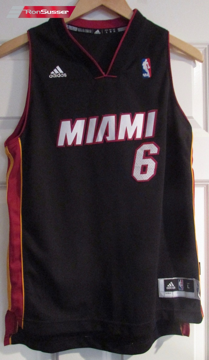 new product 84f01 2a520 Details about NBA Miami Heat Lebron James #6 Jersey Youth Large Length +2  Adidas EUC