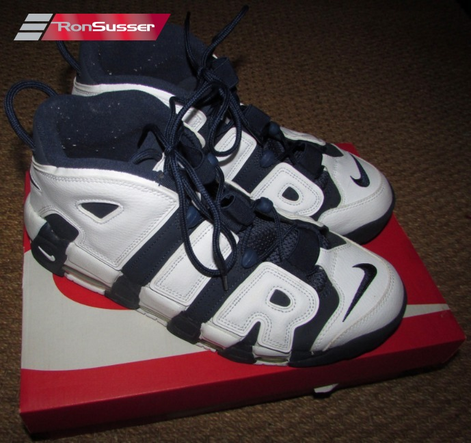 6d0b5f5442d6f Nike Air More Uptempo White Blue 414962-104 Size 11.5 EUC with Box ...