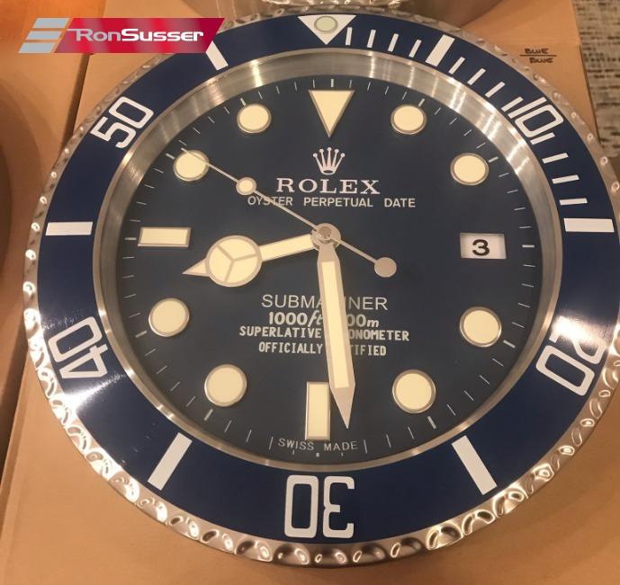 Rare Rolex Authorized Dealer Display Wall Clock Blue Submariner A6409 Highest Quality