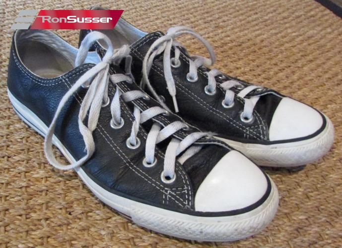 Black Leather Sneakers - Sz 7 Men