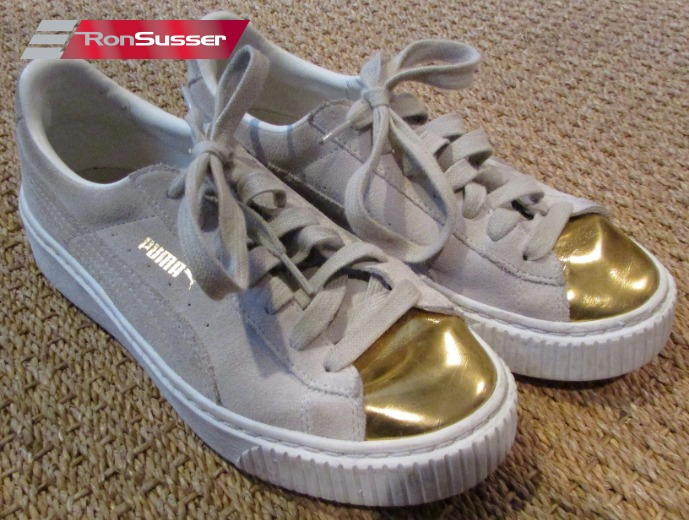 Details about Puma Womens Suede Platform Gold Toe Beige Sneakers Size 7 US